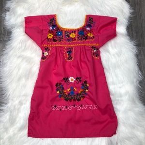 Pink Multi-Colored Mexican Embroidery Dress 12M